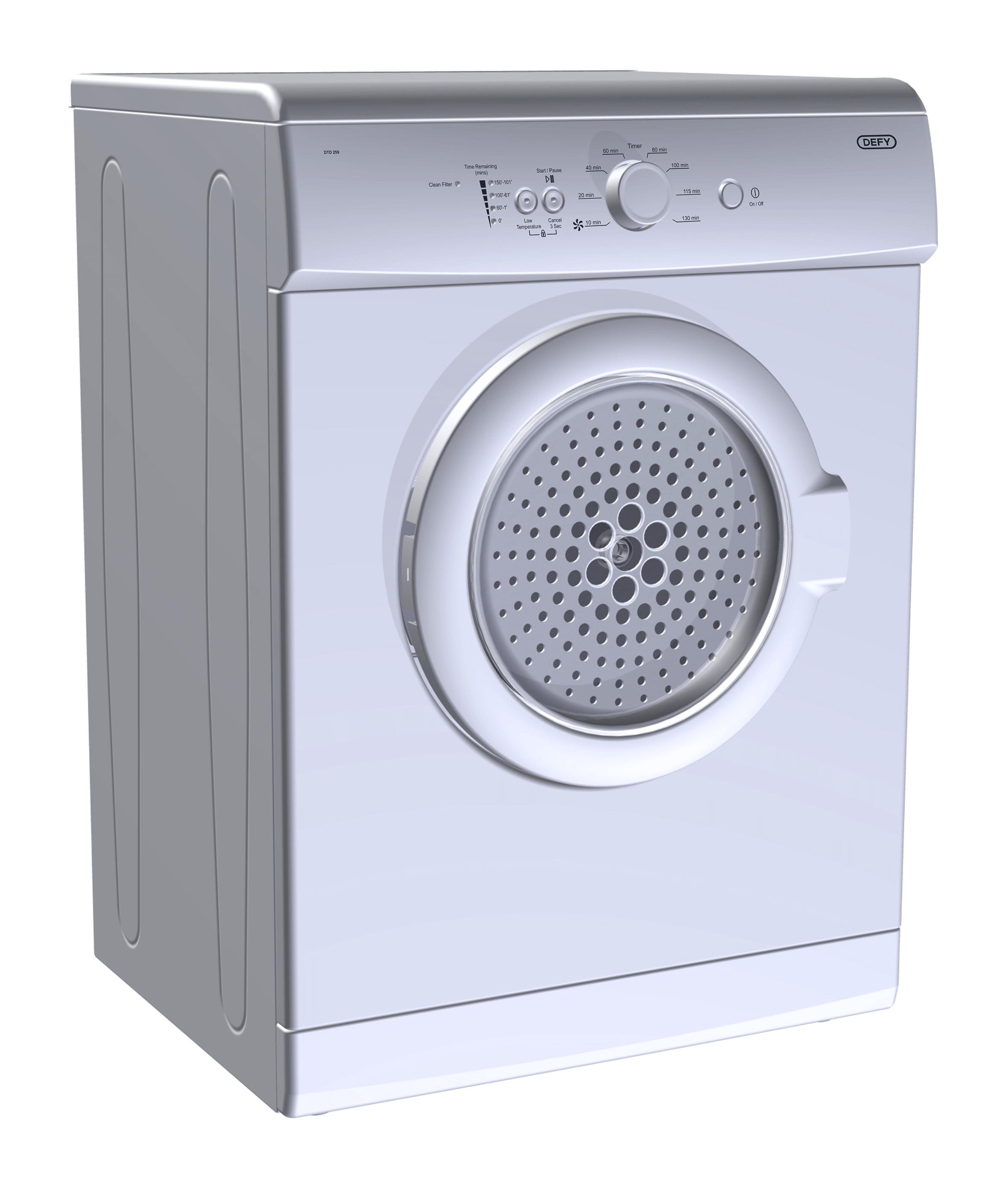 Defy Air Vented Tumble Dryer Metallic Model Dtd259
