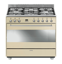 SMEG <BR &#47;> GAS ELECTRIC <BR &#47;> STOVE (CREAM)<BR &#47;>MODEL: SSA91MFP9