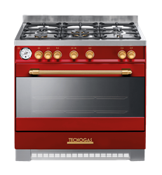 TECNOGAS <BR /> GAS ELECTRIC <BR /> STOVE (RED) <BR &#47:>MODEL: D1R96E5VCO