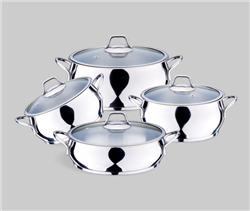 BONERA STELLA STEEL BELLY SHAPE 8 PC COOKWARE SET MODEL: BON391