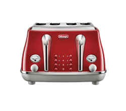 DELONGHI 4 SLICE ICONA CAPITALS TOASTER (RED) MODEL: CTOC4003.R